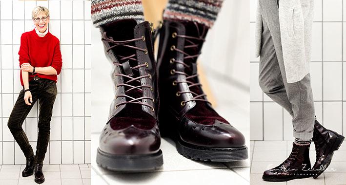 Die Schuhe im Vordergrund - ich nutze hier 3 Ansichten, um den Betrachter die Schuhe perfekt zu präsentieren - Das Model selbst rückt durch diese Art der Darstellung beabsichtigt in den Hintergrund