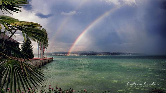 Landschaftsfotografie Insel Mainau Regenbogen Abendstimmung