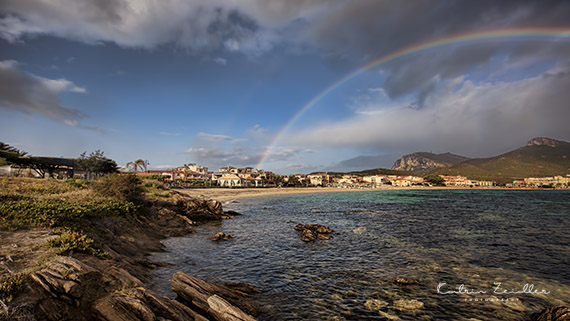 Landschaftsfotografie Sardinien Golf Aranci doppelter Regenbogen