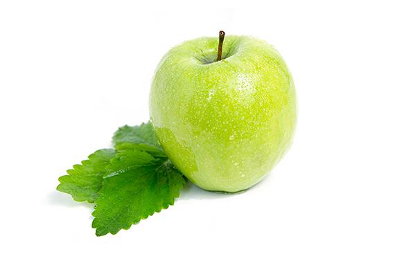 Foodfoto Apfel grün mit Blatt