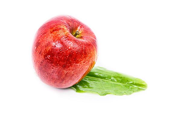 Foodfoto Apfel rot mit Blatt