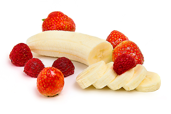 Kombination aus Banane und Erdbeeren